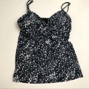 Other - NWT Black & Gray Print tankini top